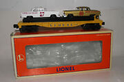 Lionel O Scale 6-19423 Racing Flatcar W/ Racing Stock Cars, Excellent, Boxed