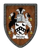 Woods Coat Of Arms Custom Family Crest Hanging Wall Shield Sh503p-dg-hg