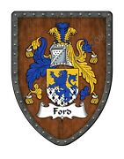 Ford Coat Of Arms Custom Family Crest , Hanging Wall Shield Sh503p-dg-hg