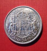 Canada 1945 50 Cents Narrow Date .800 Silver Fifty Cent Piece Half Dollar Nice
