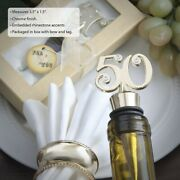 70 Golden 50 Themed Wine Bottle Stopper Anniversary 50th Birthday Party Favors
