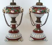 Victorian Hand Painted Ceramic Oil Lamps With Chain Swags And Lion Masks - C.1850