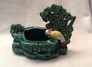 Vintage McCoy Planter Green Cat Wishing Well Tree Rare
