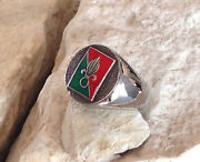 Sterling Silver Foreign Legion French Ring Army Badge Pin Patch Military D100