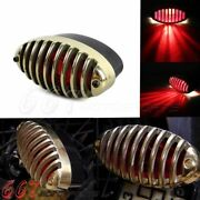 Motorcycle Brass Finned Grill Taillight Number Lamp For Harley Custom Cafe Racer