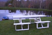Aandl Furniture Co. 8and039 Amish-made Rectangular Poly Walk-in Picnic Table And Benches