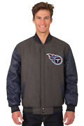 Nfl Tennessee Titans Jh Design Leather Wool Twill Reversible Jacket Bnwt 203ref7