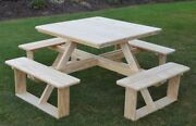 Aandl Furniture Co. 44 Amish Square Pressure-treated Pine Walk-in Picnic Tables