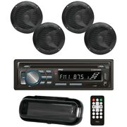 Pyle Bluetooth Marine Stereo Radio Receiver And 4x 6.5and039and039 Speakers - Bundle