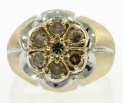 Menand039s 1.00 Carat Total Weight Cognac Diamond Ring In 10 Kt Yellow Gold.