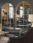 Set Of 2 Arched Window Pane Wall Floor Mirrors Antiqued Gold Uttermost 12866