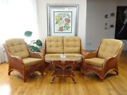 Living Set Jam Of 2 Chairs Loveseat Light Brown Cushions And Coffee Tablecognac