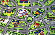 7x10 Area Rug Kids Play Road Map Street Fun City Driving Time New 6and0398x10and039