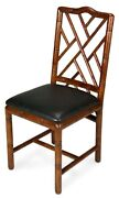39 H Set Of Two Bamboo Dining Chair Solid Birch Wood Frame Bamboo Carving