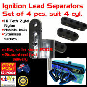 New Black Spark Plug Ignition Lead Wire Separators Holders Set 4 Fits 4cyl