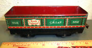 Tin Train Car Marx Toys Rock Island 552 Criandp Green And Red Great Graphics