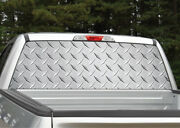 Silver Diamond Plate Metal Rear Window Decal Graphic For Truck Suv