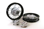 Black Front And Rear Alum Wheels Rims 10 10 Inch Crf50 Xr50 Pit Bike Stock Drum