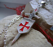 Sterling Silver Knights Templar Sword Cross Croix Pendant Necklace Degree Ring