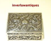Chinese Silver Cigarette Box Cedar Lined Qing Dynasty.