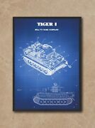 Tiger I Tank Poster Wwii German Battlefield King, Third Reich Collectibles Decor
