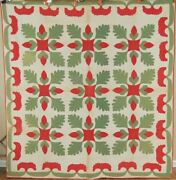 Pre Civil War 1850and039s Red And Green Oak Leaf And Acorn Applique Antique Quilt