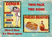 Vintage Style American Diner Signs Coffee Antique Style Signs 2 Pack Burger Bar