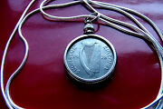 Very Fine 1928 Irish Sixpence Pendant Antique On A 18 .925 Silver Snake Chain