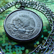 1947-1948 Mexican Silver Peso Pendant 18 Sterling Silver Link Chain
