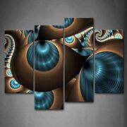 Framed 4 Pcs Abstract Blue Brown Wall Art Painting Picture Canvas Print Pictures