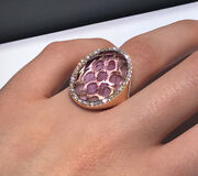 Roberto Coin 18k Rose Gold Diamond Special Made Amethyst Ring Band Size 7.25