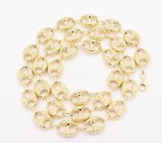 15mm Puffed Mariner Nugget Textured Chain Necklace Real 10k Yellow Gold