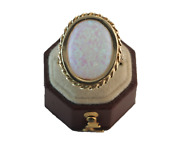Rare Victorian Pinfire Opal Ring 14k Yellow Gold Size 9.5