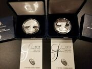 2014-w And 2015-w Silver Eagle Proof Coins - Gems - With Boxes And Coas