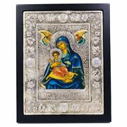 Byzantine Icon Madonna With Child And Angels Made Of Wood And 950 Solid Silver