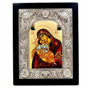 Byzantine Icon Madonna With Child Made Of Wood And 950 Solid Silver