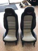 05-13 Corvette Black/grey Complete Seat Assembly Set W/ Seat Tracks And Airbags