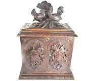 N513 Antique 19th Century Black Forest Cabinet Box Chickens - 50cm 19 5/8 Tall