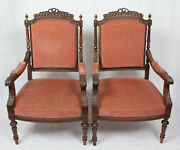 Pair French Antique Louis Xvi Finely Carved Armchairs C. 1890-1900