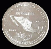 1972 Mexico Silver Commemorative National Convention Of Numismatics Oct. 16-18