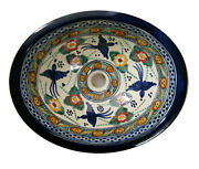 084 Small Bathroom Sink 16x11.5 Mexican Ceramic Hand Paint Drop In Undermount