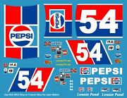 54 Lennie Pond Pepsi Chevrolet 1/24th - 1/25th Scale Decals