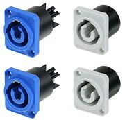 2 Pair Neutrik Nac3mpa-1 And Nac3mpb-1 Power In/out Powercon Panel Mount 20a/250v