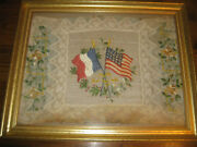 Antique 1818 20 Star American And France Flag Embroidery Crewel Lace Silk Souvenir