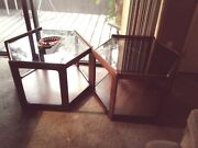 Authentic Brown Saltman Walnut And Smokey Glass Drum End Tables