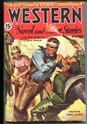 Western Novels And Short Stories 03/1936-cowboy Pulp Fiction-fight Cover-vf-