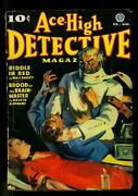 Ace-high Detective February 1937- Wild Cover-frank Gruber- Final Issue- Vg-