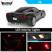 Red Interior Lights Package Accessories Kit Fits 2005-2013 Corvette C6 12 Bulbs