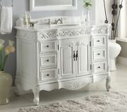 Chans Furniture Victorian White Vanity Vintage Style - Cf-3882w-aw-48