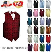 Menand039s Paisley Formal Tuxedo Vest Bow-tie And Hankie Set. Wedding Prom Cruise